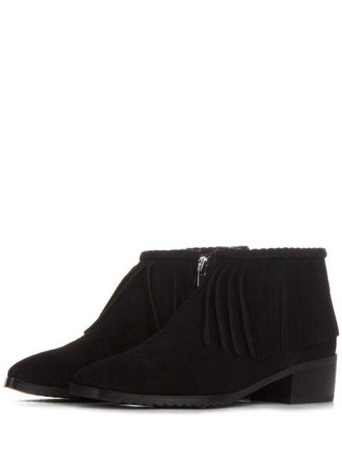 ladies Fringe Square Toe Ankle Boots - BLACK 39 Mobile