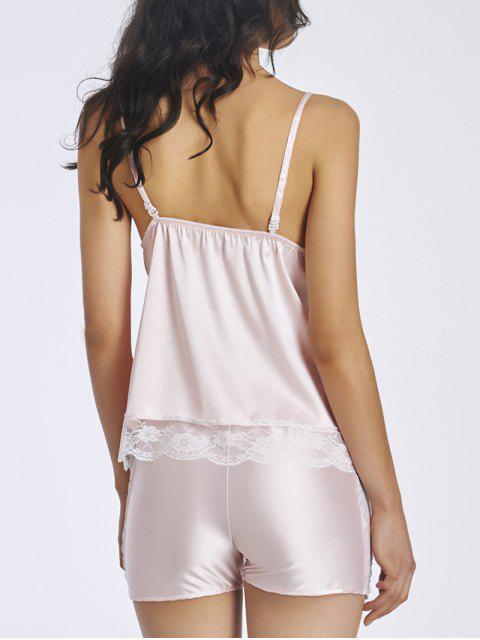 ladies Lace Insert Spaghetti Strap Sleepwear - LIGHT PINK M Mobile