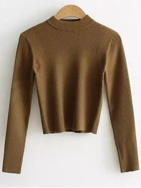trendy Mock Neck Cropped Pullover Sweater - ARMY GREEN ONE SIZE Mobile