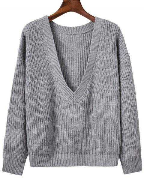 chic V Back Chunky Sweater - GRAY ONE SIZE Mobile