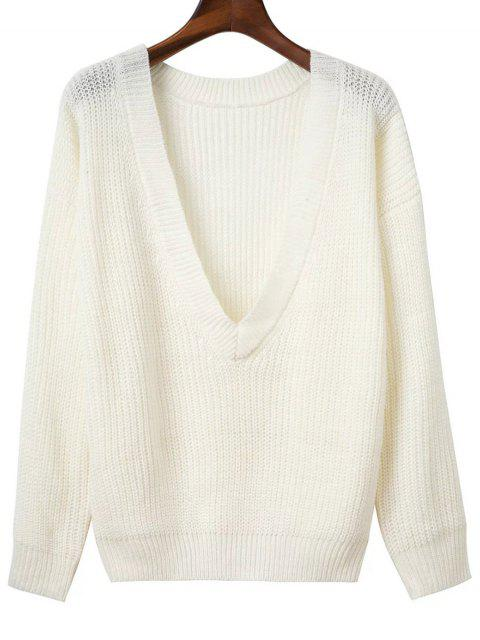 fancy V Back Chunky Sweater - WHITE ONE SIZE Mobile