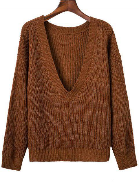 V Volver grueso suéter - Marrón Única Talla Mobile