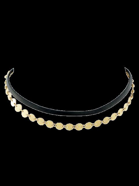 shop Faux Leather Sequins Choker - GOLDEN  Mobile