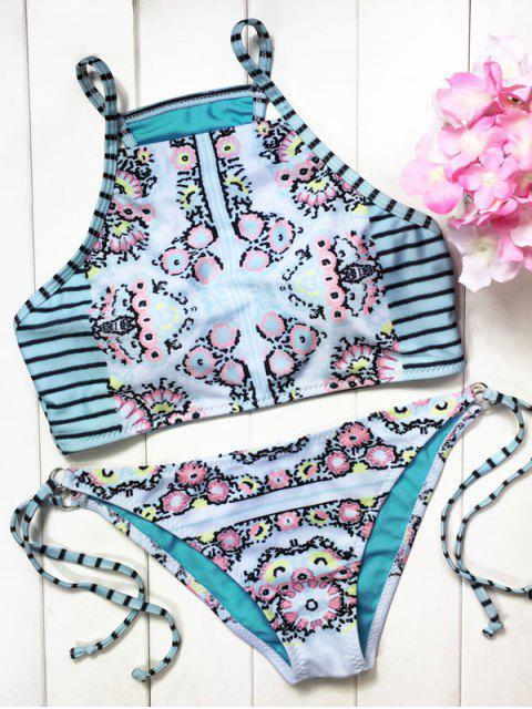 Drucken High Neck String-Bikini-Satz - Hellgrün S Mobile