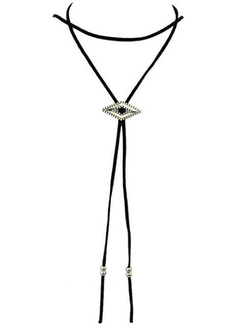 womens Faux Leather Geometric Choker -   Mobile