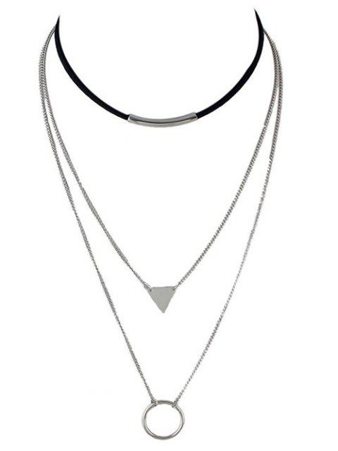 ladies Multiayer Circle Triangle Bar Choker - SILVER  Mobile