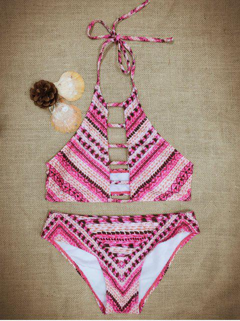 buy Halter Leather Print Cut Out Bikini Set - RED L Mobile