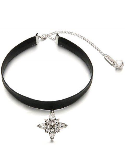 shop Adjustable Rhinestone Faux Leather Choker - BLACK  Mobile