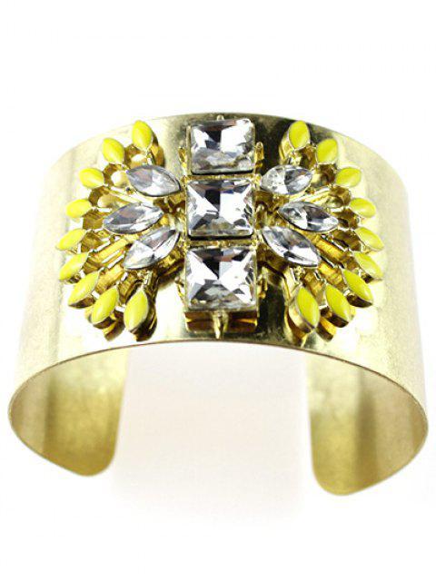 affordable Wide Faux Crystal Cuff Bracelet - GOLDEN  Mobile