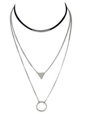 Multiayer Circle Triangle Bar Choker - Silver