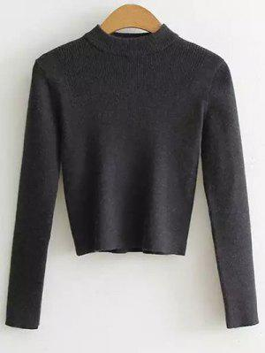Medio Cuello Recortada Sudadera Suéter - Gris Oscuro