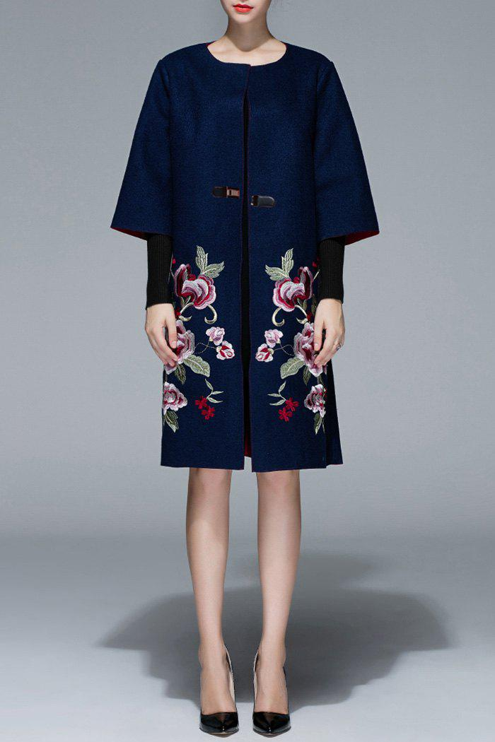 Floral Embroidered Wool Coat, Purplish blue