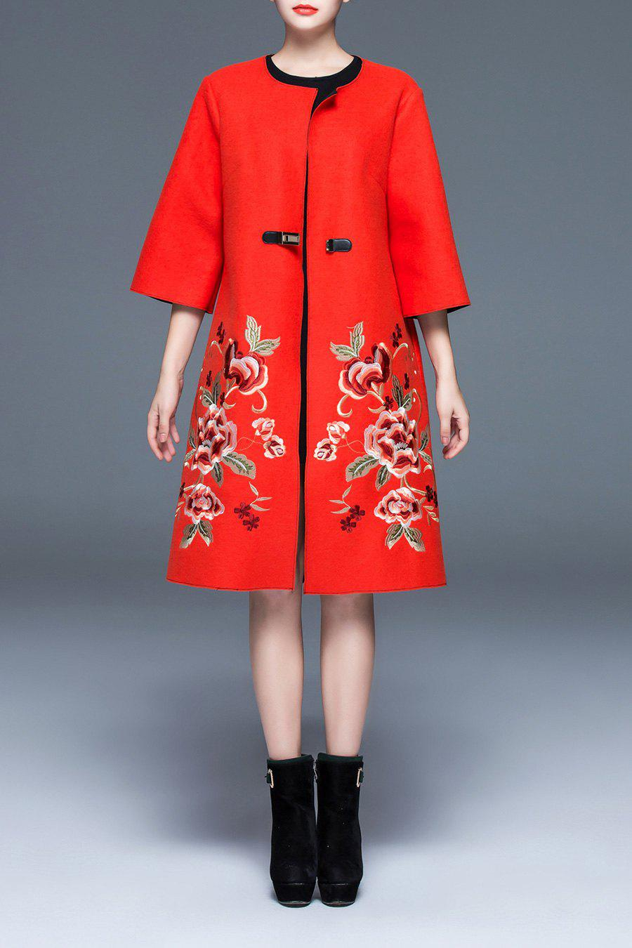 Floral Embroidered Wool Coat, Orange red