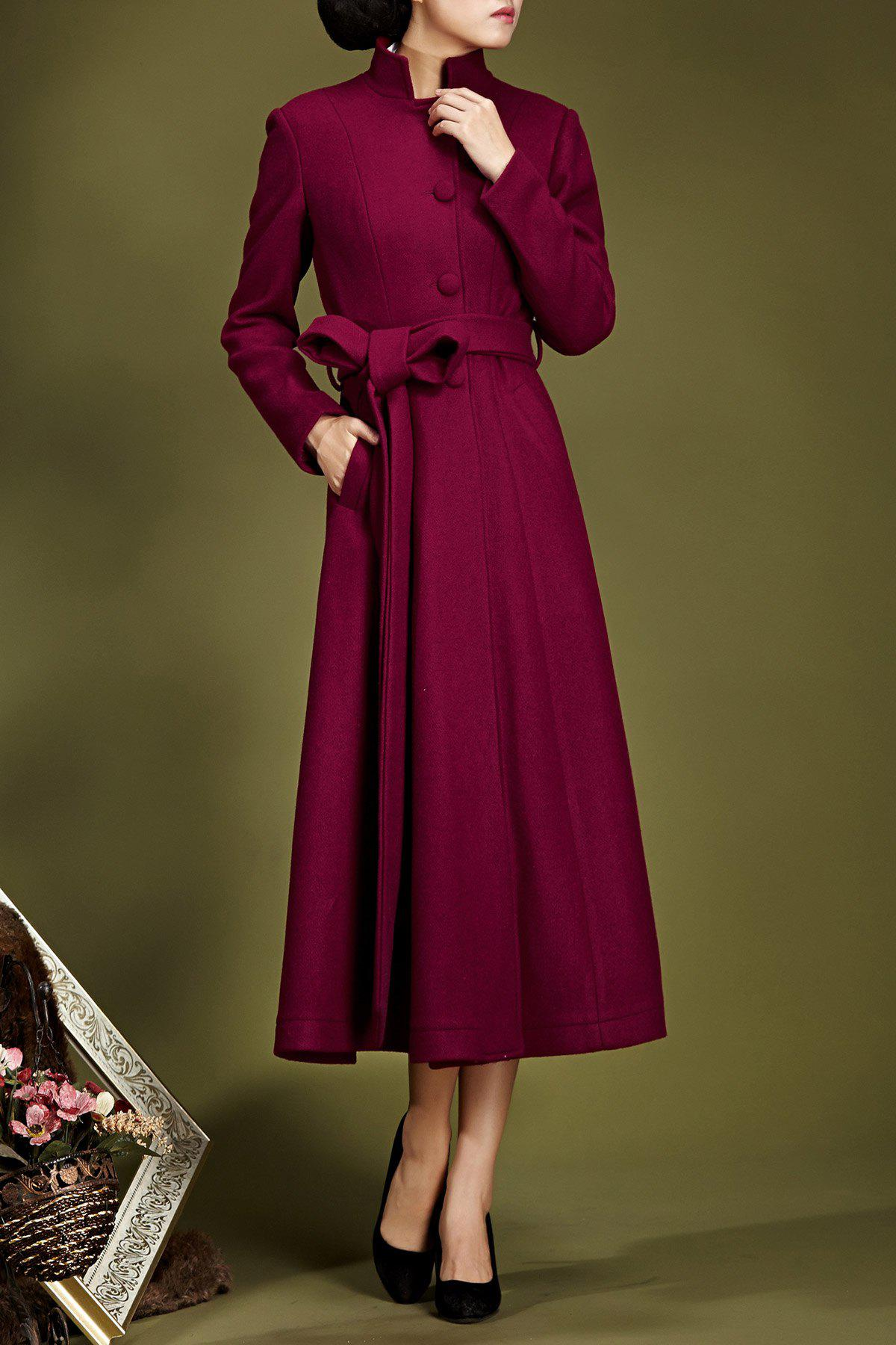 Stand-up Collar Fit and Flare Coat, Dark red