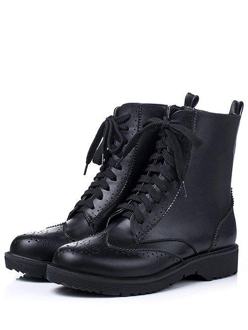 Engraving Tie Up Flat Heel Short Boots