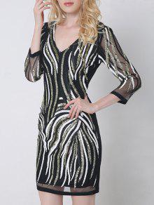 مزخرفة مطرزة الخامس الرقبة فستان بوديكون مع الأكمام - أسود Xl