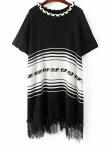 Fringed Knit Poncho - Black
