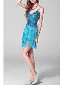 9ae6355807de 30% OFF] 2019 Sequined Flapper Slip Dress In WATER BLUE | ZAFUL