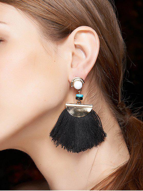buy Bead Semicircle Tassel Earrings - BLACK