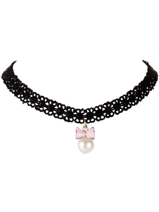 shop Bowknot Faux Pearl Lace Choker - PINK