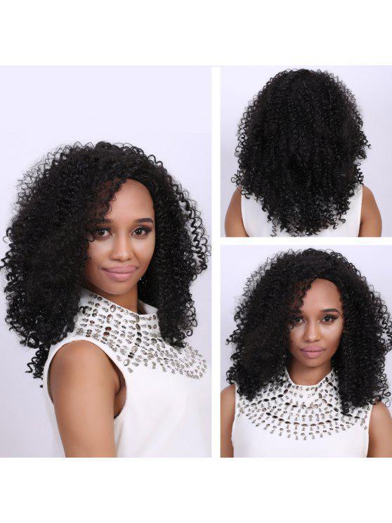أسود متوسط الأفرو مجعد أزياء متوسط شعر مستعار الاصطناعية للنساء - أسود