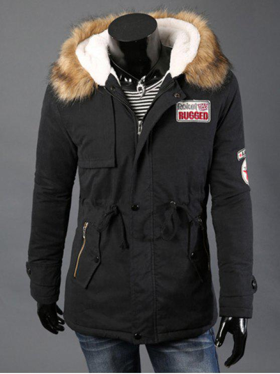 587b1676c1d Drawstring Waist Patched Faux Fur Hooded Long Sleeve Padded Coat For Men -  Black M