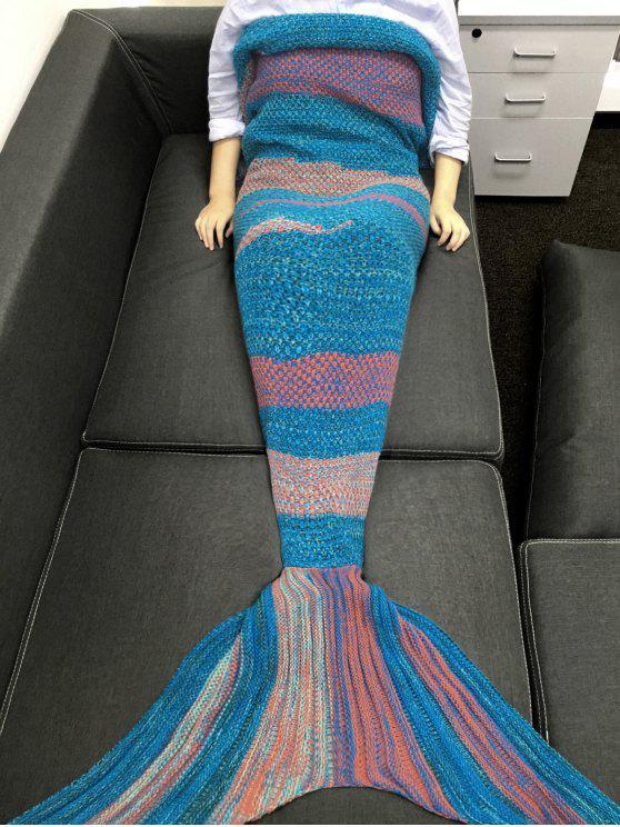 بطانية ميرميد محبوك - أزرق