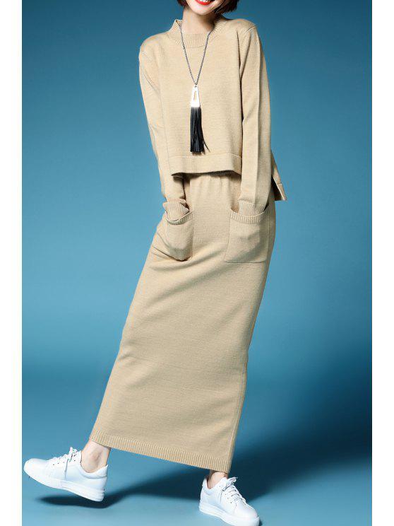 سويت بلون الصلبة طويلة الأكمام مع تنورة ماكسي محبوك - أبيض فاتح XL