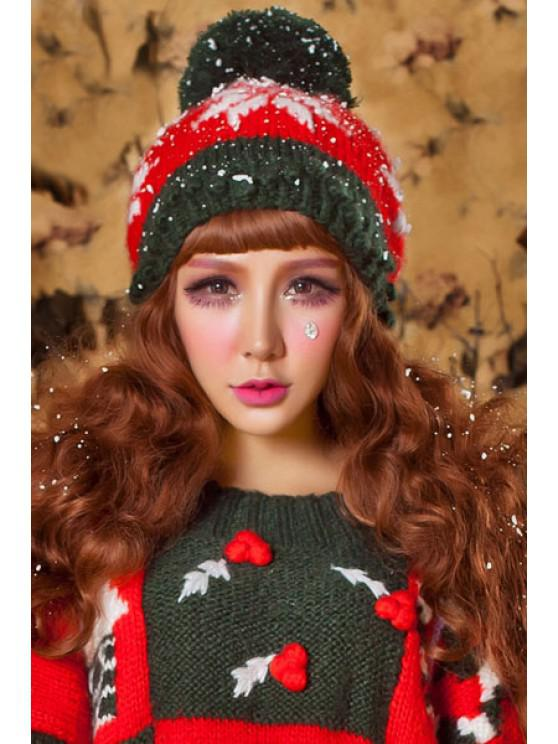women Snowflake Crochet Christmas Hat - RED AND GREEN