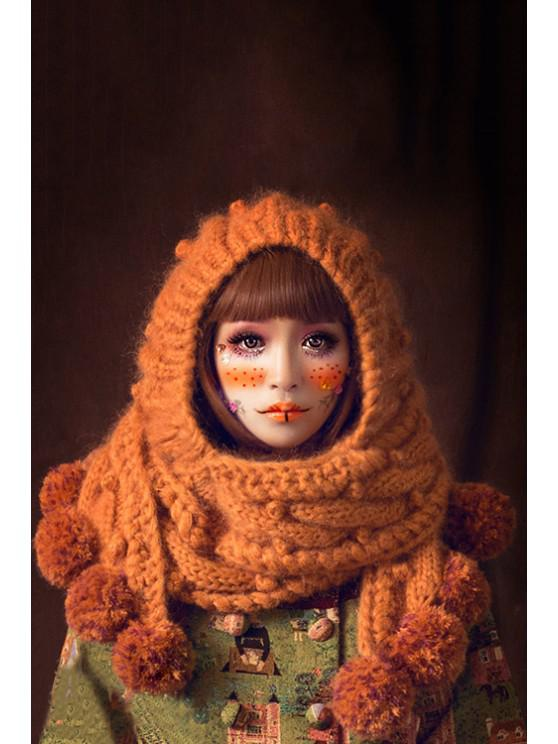 new Knitted Extra Long Cloak Hat - ORANGE