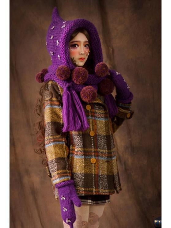 hot Rhinestone Ball Knitted Cloak Hat - PURPLE