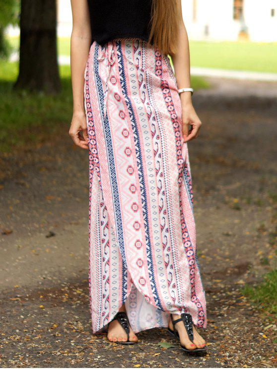 39a213fd25 20% OFF] 2019 Ethnic Print A Line Slit Skirt In PINK | ZAFUL