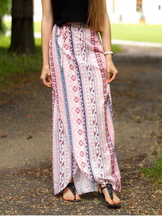 trendy Ethnic Print A Line Slit Skirt - PINK S
