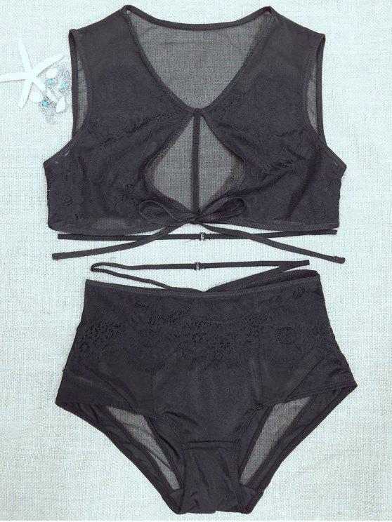 hot Lace Mesh High Rise Bra Set - BLACK L