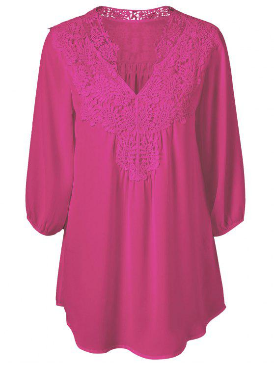 new Plus Size Crochet Trim Tunic Top - ROSE RED 4XL