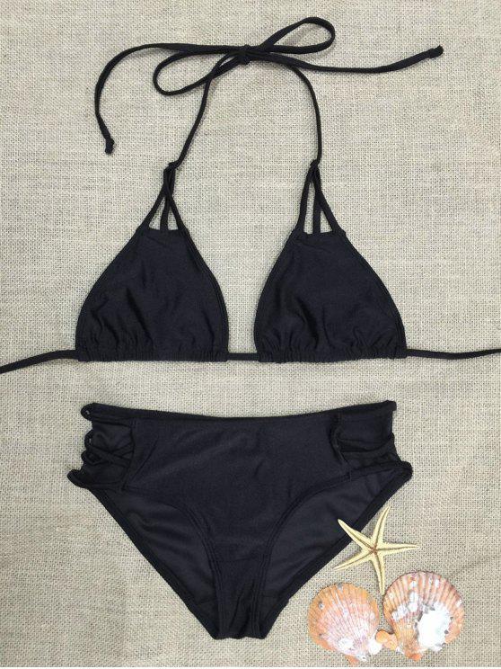 buy Strappy Plunge Bra Set - BLACK M