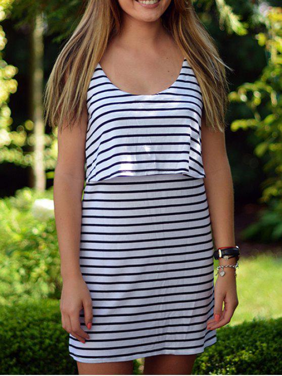 Vestido rayado Popover - Blanco XL