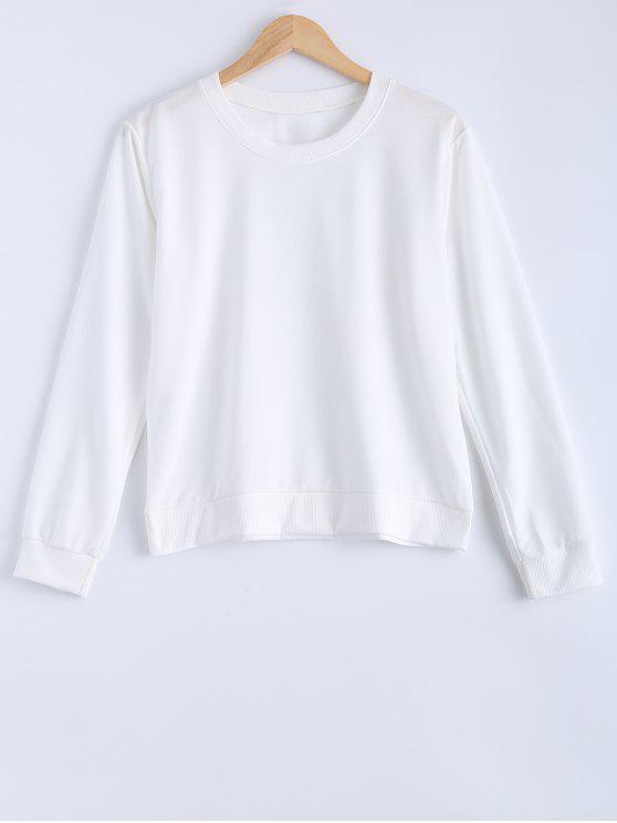 sale Pure Color Sweatshirt - WHITE S