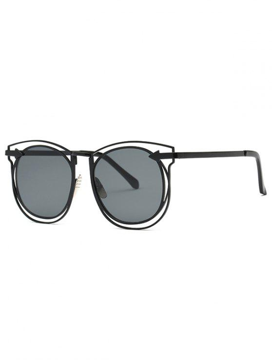 fancy Arrow Hollow Out Black Sunglasses - BLACK