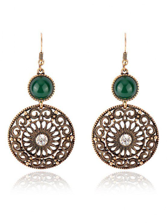 affordable Rhinestone Filigree Floral Earrings - GREEN