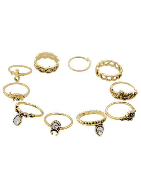 best Rhinestone Floral Elephant Rings - GOLDEN ONE-SIZE