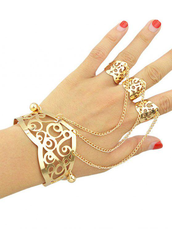 Ahueca hacia fuera la pulsera del anillo Con - Dorado Uno de tamaño