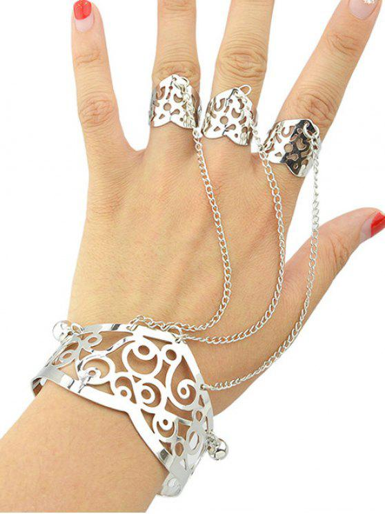 best Hollow Out Bracelet With Ring - SILVER ONE-SIZE