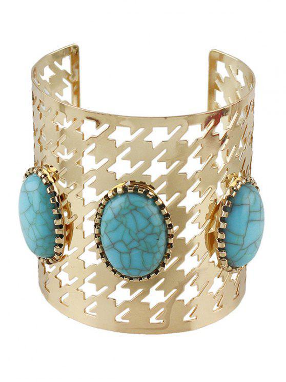 online Faux Rammel Oval Cuff Bracelet - GOLDEN