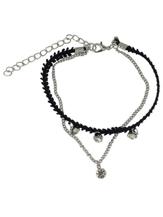 Diamantes de imitación en capas para el tobillo de la cadena - Plata
