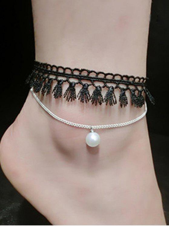 Chaîne de cheville frangée décorée de fausse perle - Argent