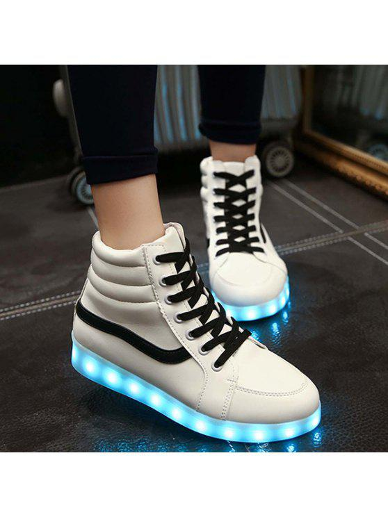 ladies LED Light High Top Sneakers - WHITE 41