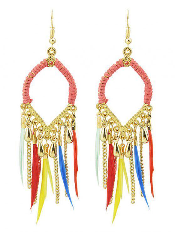 Boucles d'oreilles décorées des plumes en forme de goutte d'eau - Multicolore