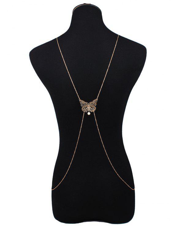 women Cut Out Butterfly Body Chain - GOLDEN