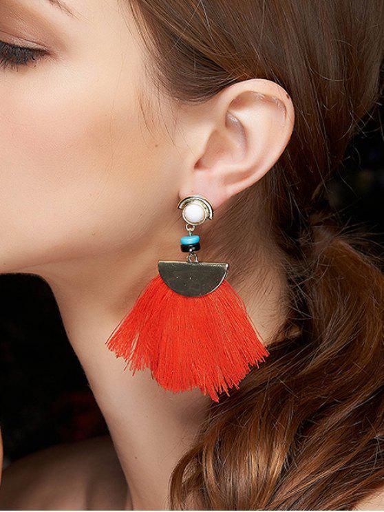 boucles d 39 oreilles demi cercle de franges rouge boucles. Black Bedroom Furniture Sets. Home Design Ideas